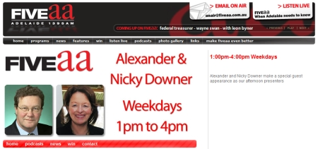 Screenshot of the Alexander and Nicky Downer Show page on the FIVEaa website
