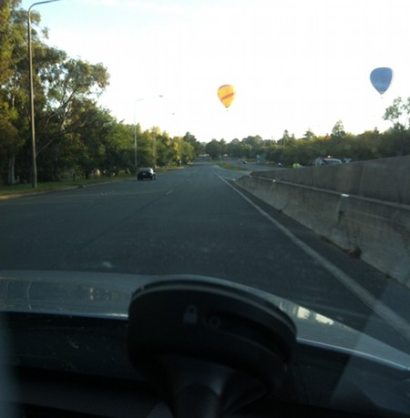 Hot air balloons over Commonwealth Avenue