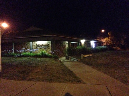 Kingdom Hall in Dickson at night