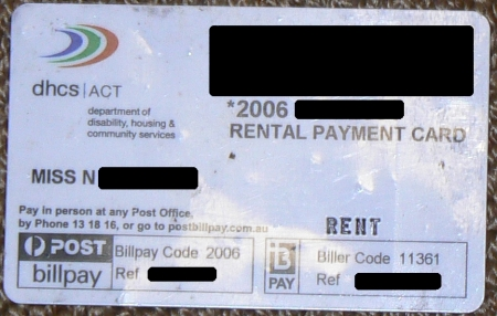 Lost ACT Housing Rent Payment Card