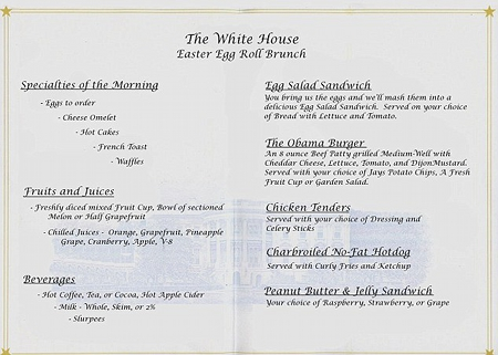 The 2012 White House Easter Egg Roll menu (h/t Daily Mail)