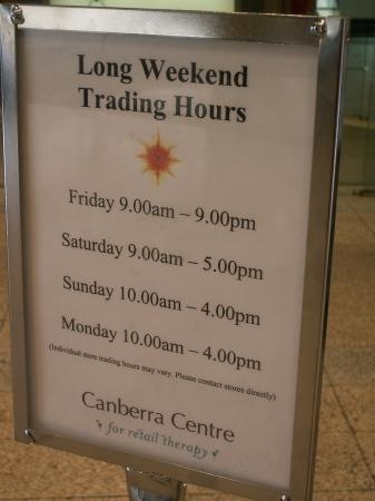 Canberra Centre Public Holiday Trading Hours