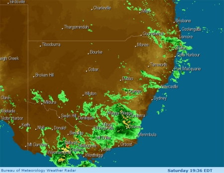 Weather Radar image of rain over Canberra, 3rd November 2007