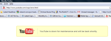 YouTube down for maintenance