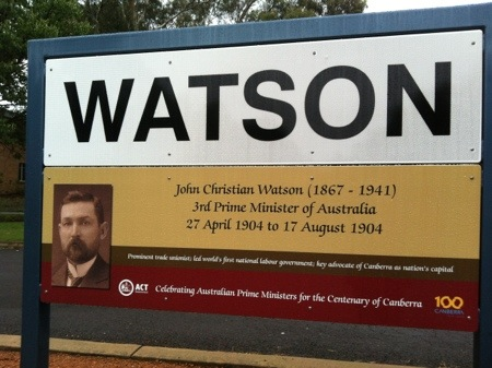 Closeup of Watson sign