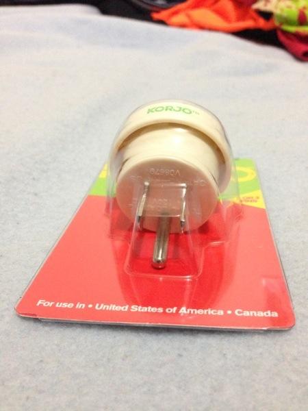 Korjo power plug adaptor for Australian plugs in US sockets